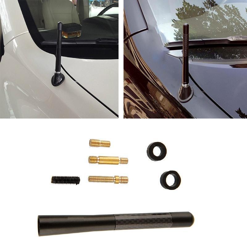 """Car Auto Aerial Antenna 4.7/"""" Aluminum Alloy Carbon Fiber FM AM Radio Universal"""