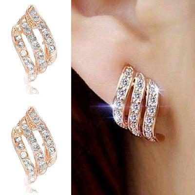 Glass Flower Drop Earrings for Women Fashion Jewelry Gold Silver Rhinestones Earrings Modern Jewelry Gift