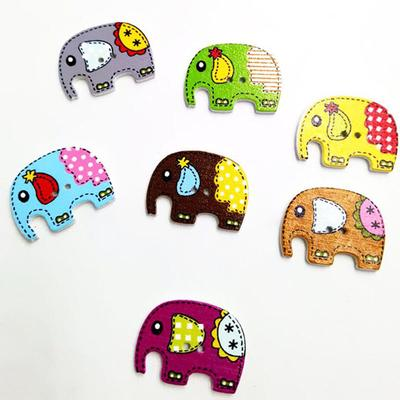 50pcs Assorted Elephant Wood 2 Holes Flatback Button for Sewing Crafting DIY