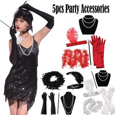 Ladies Gatsby Fancy Dress Accessories Flapper 20/'S Charleston Girl Costume Set