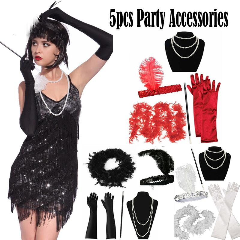 1920S 20S GATSBY CHARLESTON FLAPPER FANCY DRESS ACCESSORIES FOR COSTUME LOT SET