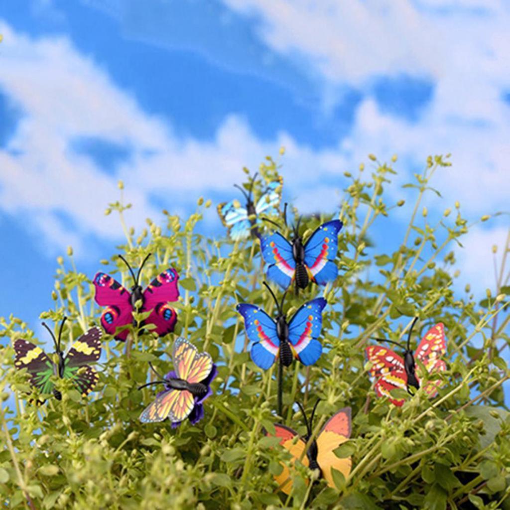 4x Butterfly Miniature Fairy Garden Ornament Plant Pot Craft Dollhouse  Decor DS