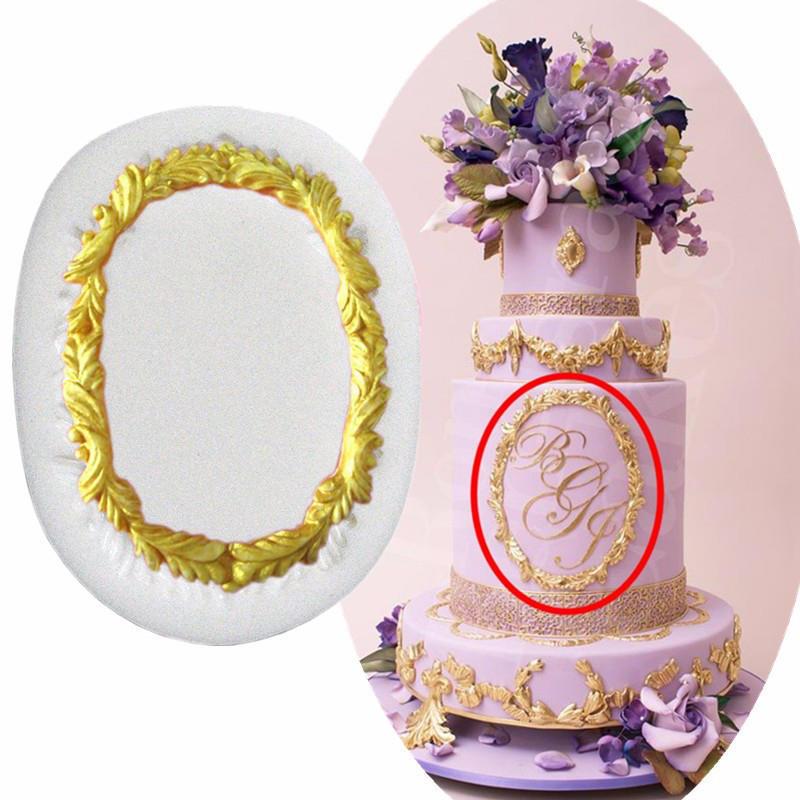 Fondant tarta espejo Vintage marco silicona moldes cocina ...