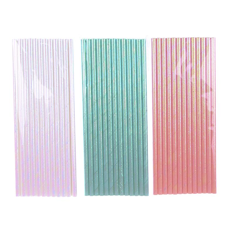 25 pcs//lot Iridescent Paper Straws Drinking DIY Rainbow Straws Decordation TDO
