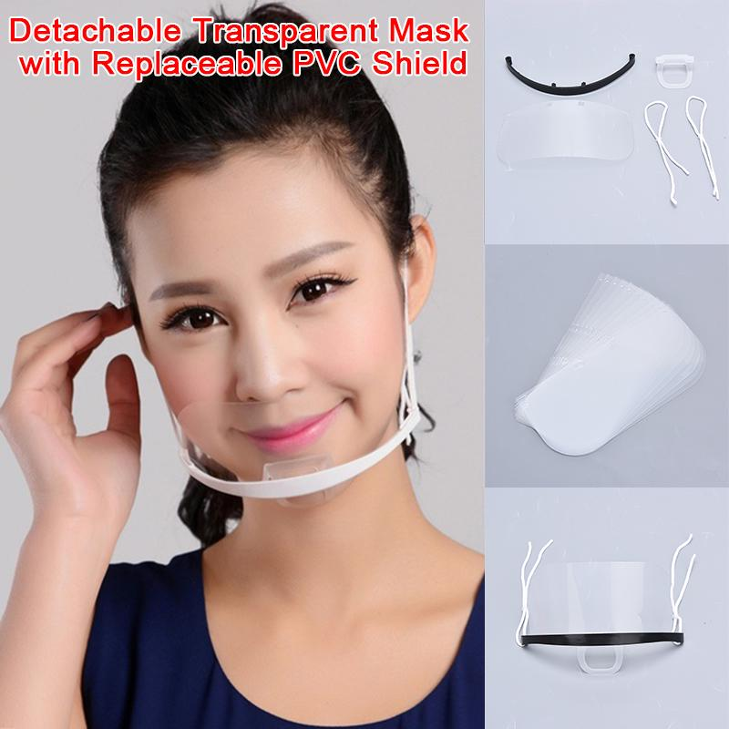 12 Pack Transparent Face Mouth Shield Sanitary Reusable Mouth Cover White