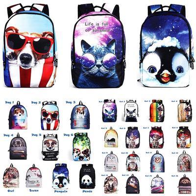5cd9d4871cb32 Wyjątkowy, kreatywny, fajny plecak Tornister na co dzień Animal Pet (cat  Dog Penguin