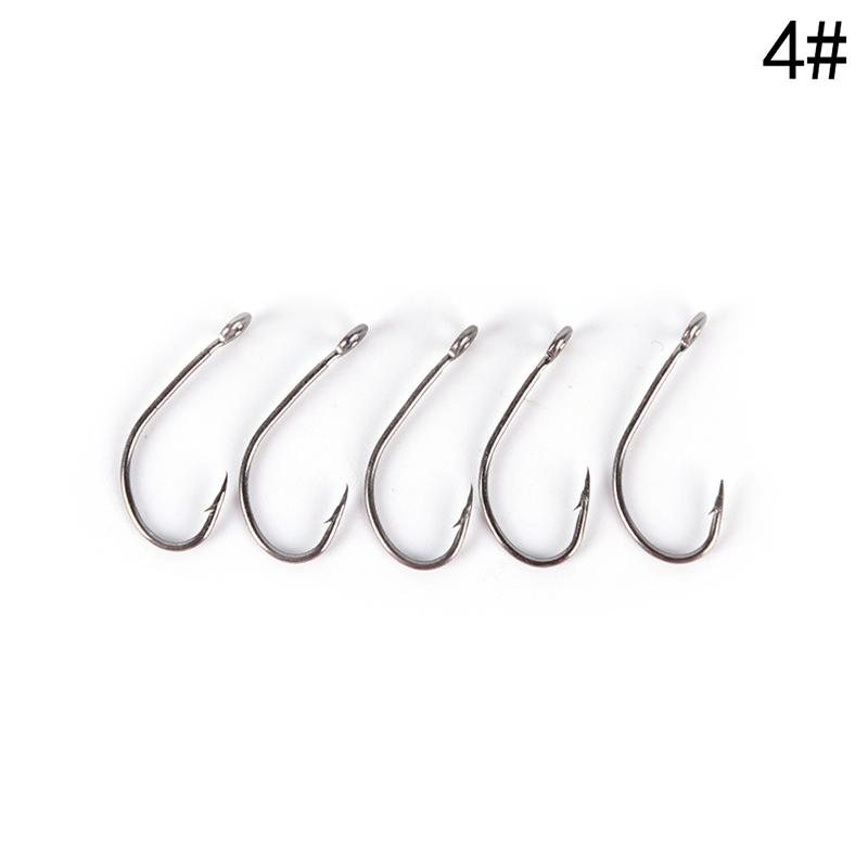 100Pcs Big Eye Single Hook Spoon Hook Size 4#,6#,8#,10#,12# For Choose bxWLDE