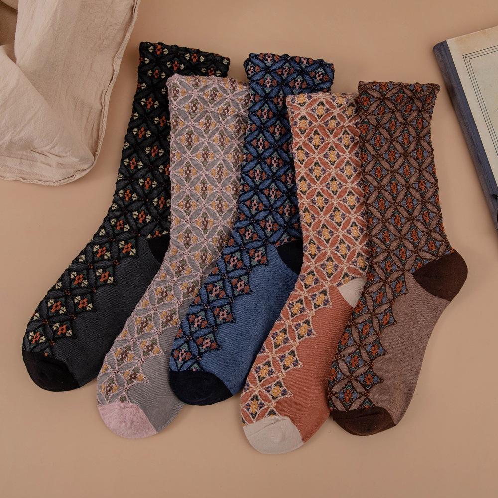 1 Pair Vintage Ethnic Style Socks Women Print Warmer Sock Japanese Cute Socks