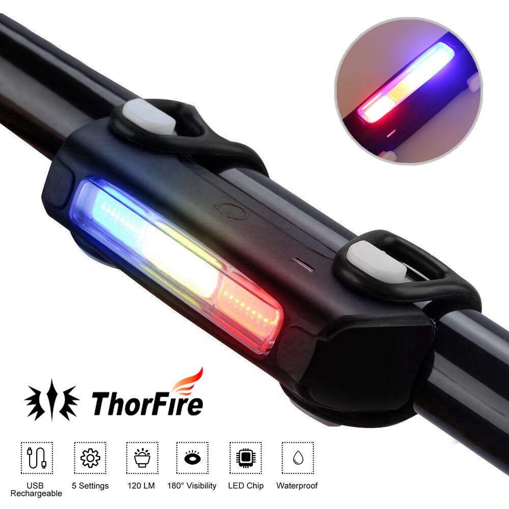 Outdoor Safety USB Rechargeable LED Bicycle Bike Rear Tail Light Warning Lamp
