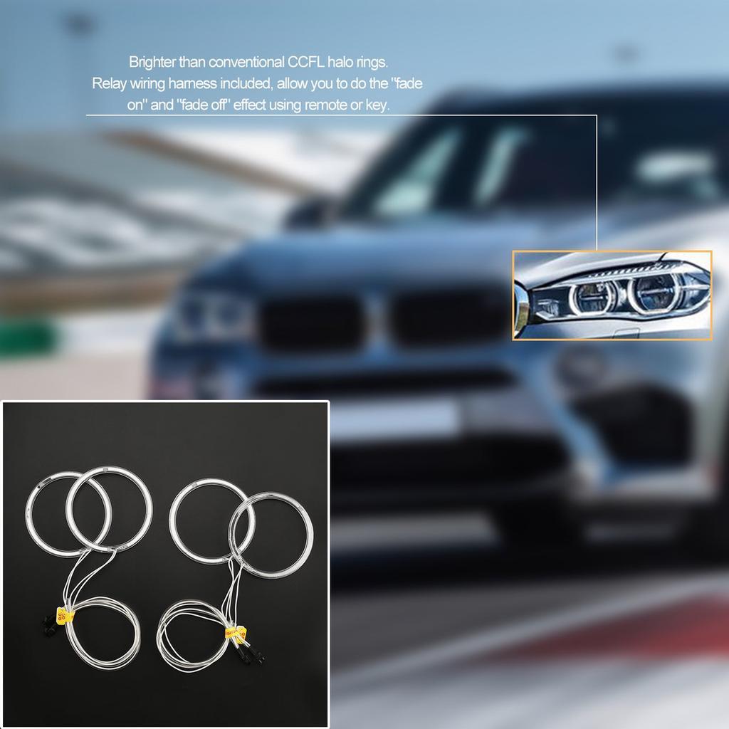 Professional White/Yellow LED CCFL Angel Eyes Halo Rings Kit for BMW ...