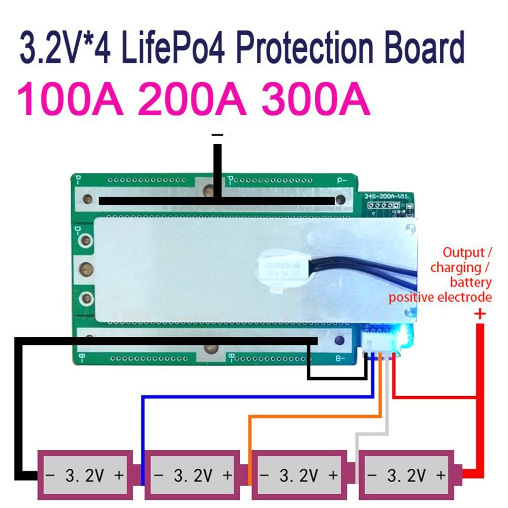 4S BMS 100A LiFePO4 Balance Protection Board PCM PCB Battery 3.6V 12.8V 14.4V