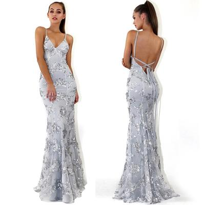 0417399ea6 Elegancka narzeczona Druhna ślubna Dekolt w szpic Formalna suknia  wieczorowa Suknie wieczorowe z cekinami