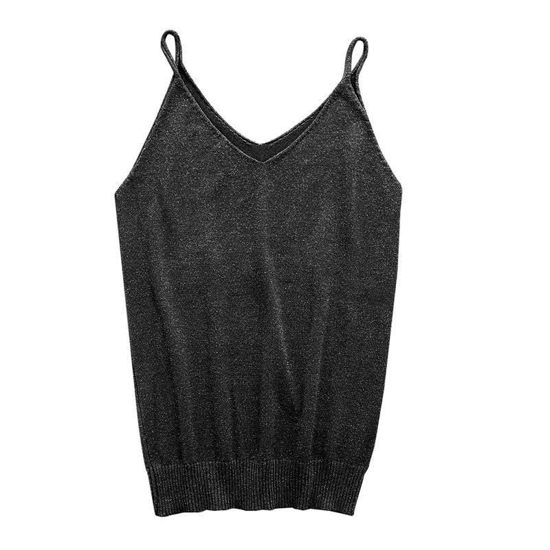 Women Sleeveless Camisole Crop Tops Glittering Knitted Blouse Slim Tank Vest