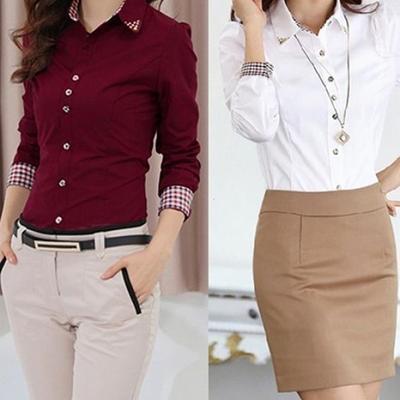Vogue Women Long Sleeve Stripe Button T-Shirt Ladies Loose Formal OL Top Blouse
