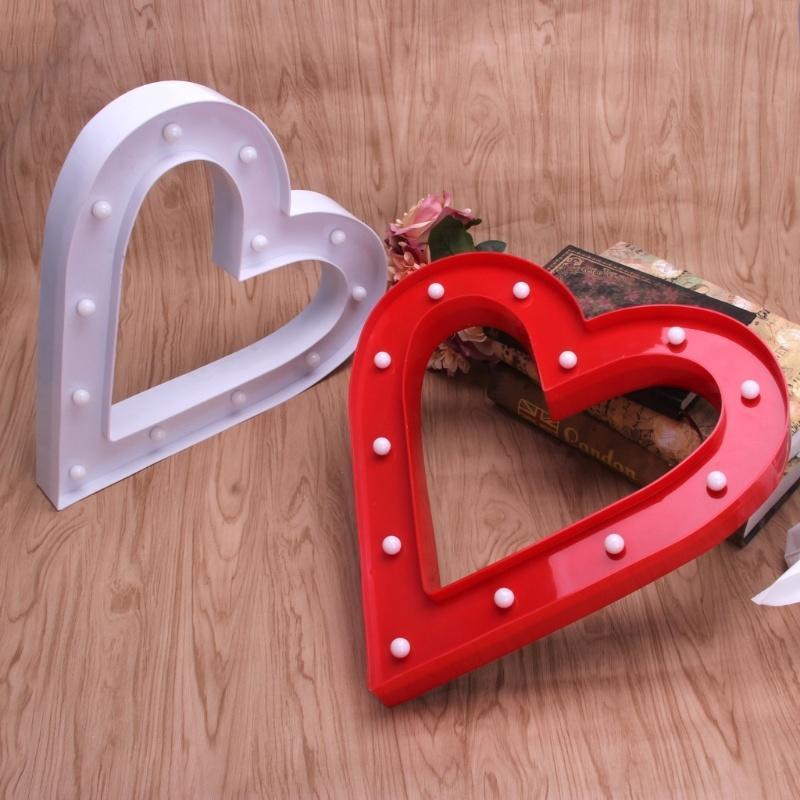 Marco 3D Amar corazón mesa lámpara de 12 LED batería operado noche ...