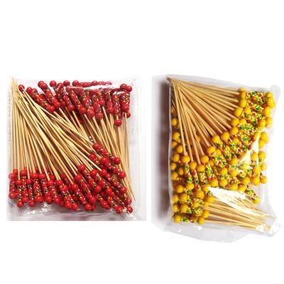 100pcs Acrylic Beads Bamboo Cocktail Picks Food Sticks Drink Stirrer BBQ Decor