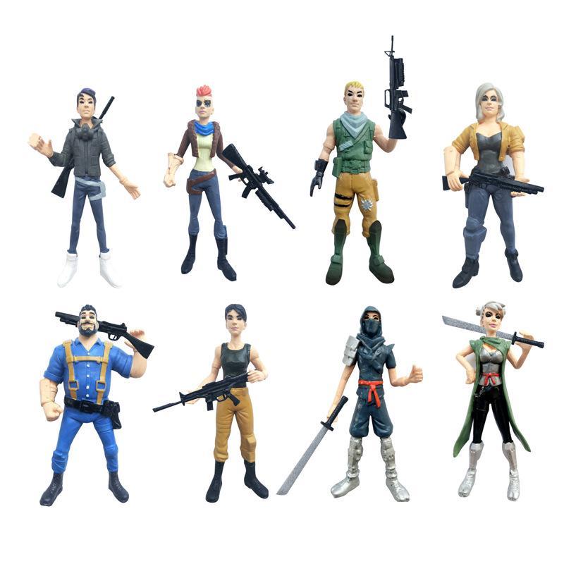 8pcs Ninja Figurine Dolls Wooden Assembled Blocks Child Building Blocks Game Toy