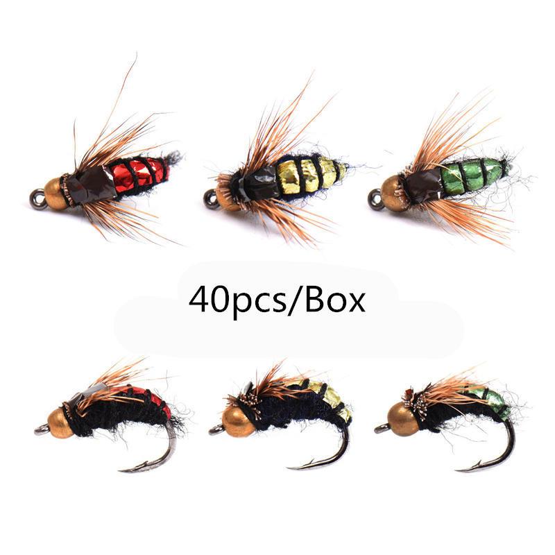 12 PCS Red black fly hooks hook gold Trout flies fly fishing 12# W// Free Box