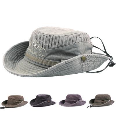 Mens Cotton Embroidery Visor Mesh Bucket Hats Fisherman