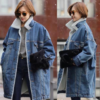 Fashion Women Lapel Warm Lamb Fur Lined Zip Up Winter Casual Coat Jacket Outwear