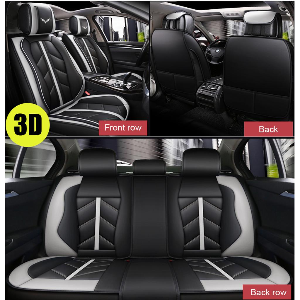 Breathable Grey Full Set 13pcs PU Leather Car Seat Covers Set Auto Cushion Mat