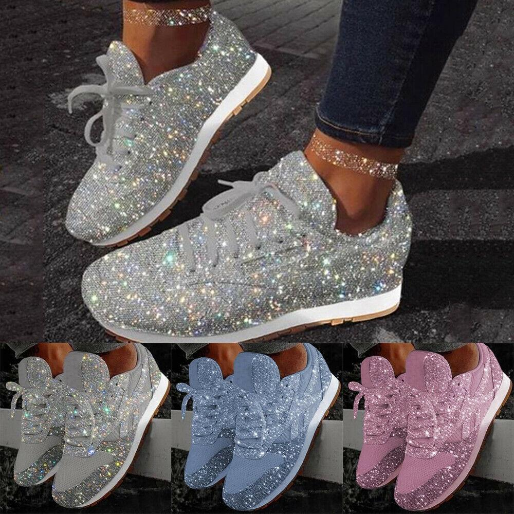 Womens Sparkly Shiny Trainers Sneakers Ladies Lace Up Casual Sport Shoes Size