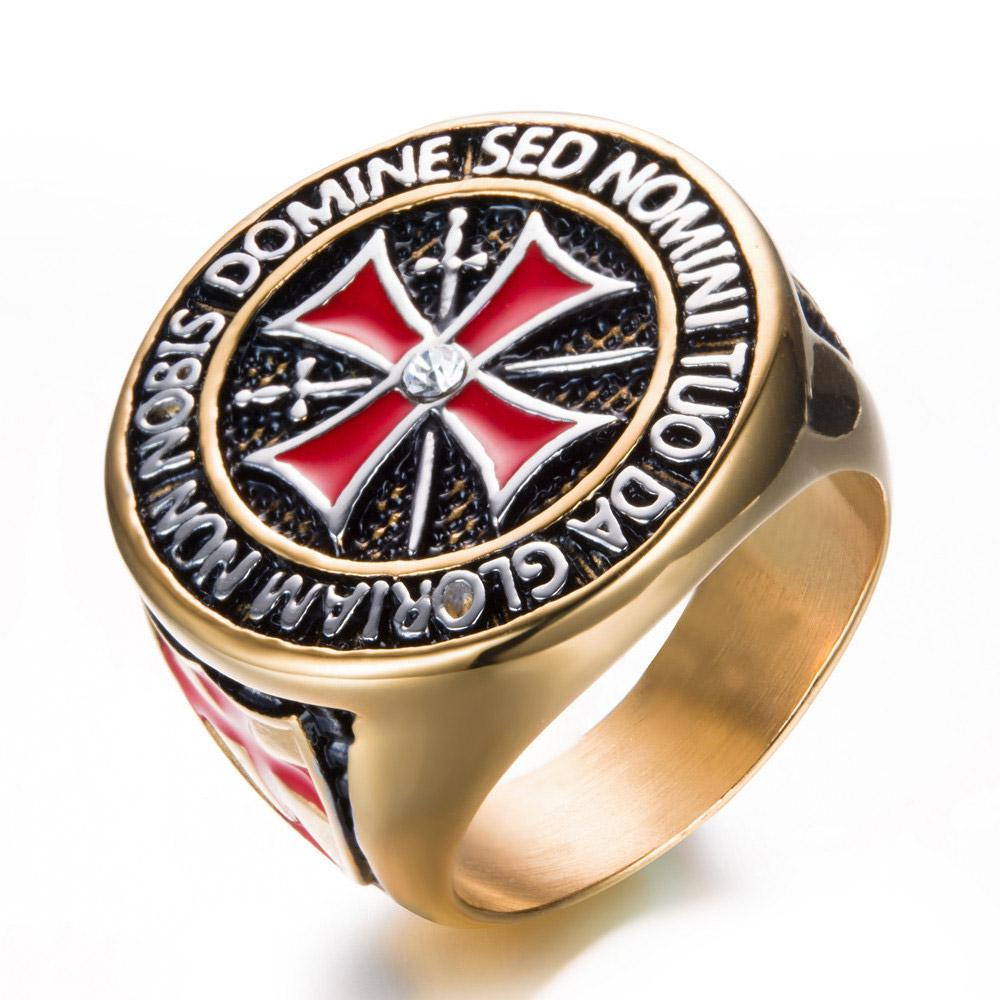 intreaga colectie transport gratuit cod promoțional Cruciat Titan otel Ring inel cruce roşie inox Cavalerii Templieri ...