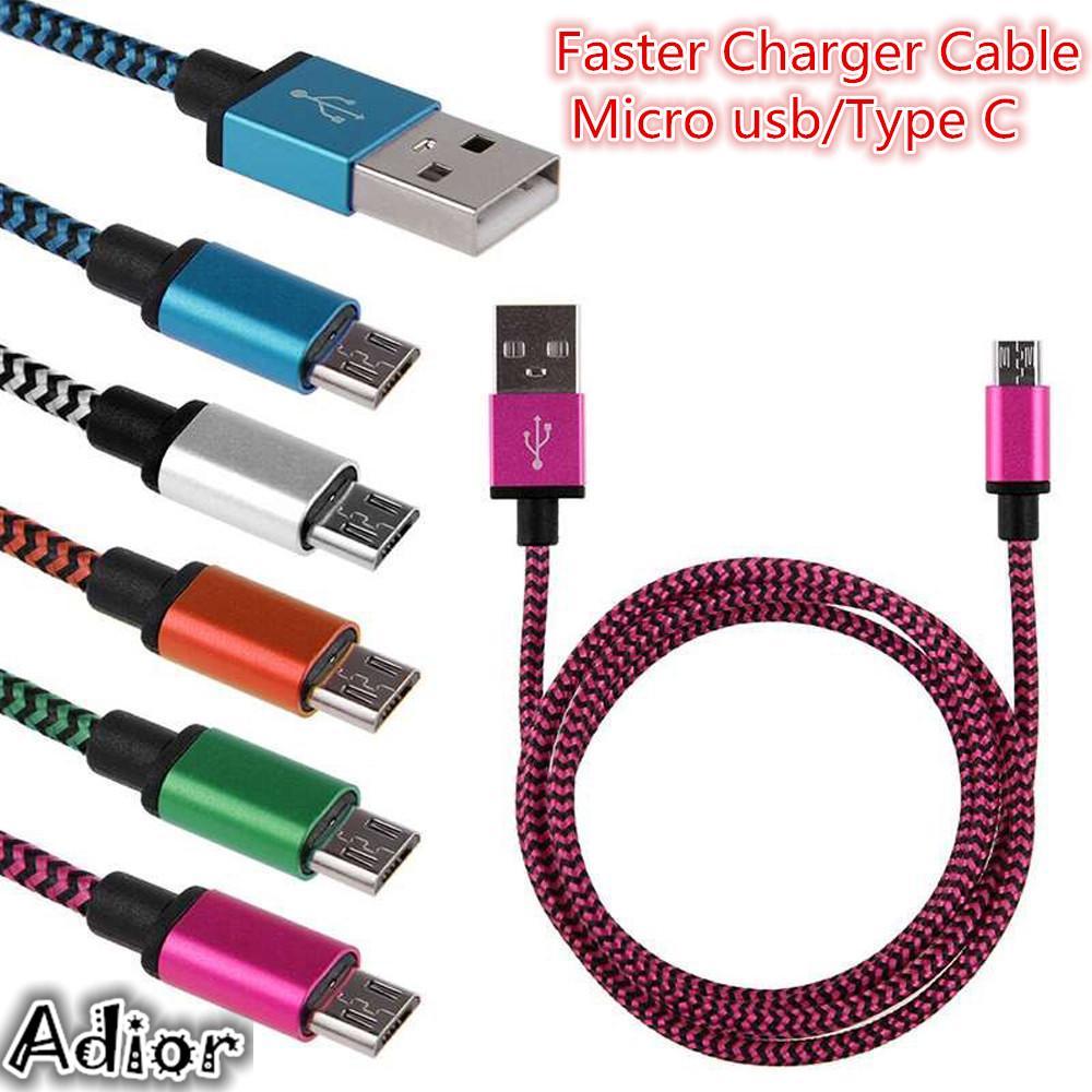 2a плетеный алюминия микро USB/тип C & синхронизация данных быстрее зарядное устройство кабель для телефона Android