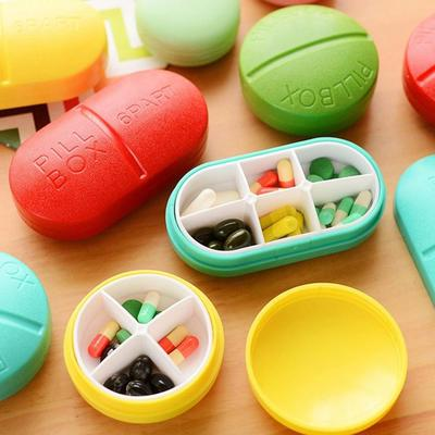 Color caramelo Mini píldora médica caja drogas medicina caso organizador envase