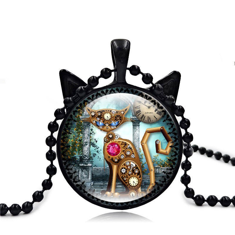 Vintage Steampunk Kitty Cat Cabochon Glass Bronze Chain Pendant Necklace