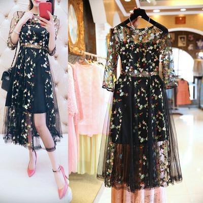 Lady Mesh Embroidery Floral Sexy Dresses Women Elegant  Party Dress Transparent O Neck  Plus Size
