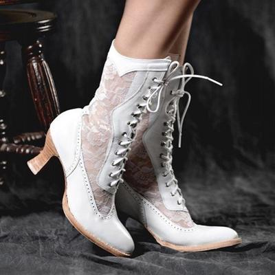 Womens Lace Up Short Boots High Heel Combat Military Victorian Ladies Boots Size