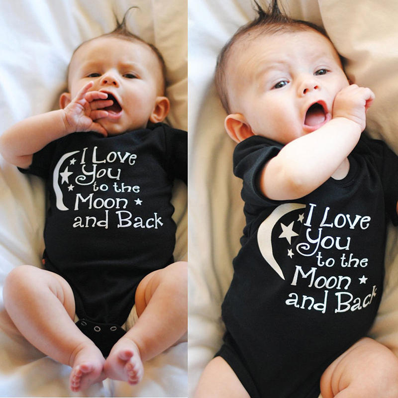 Newborn Infant Baby Boys Girls LOVE YOU TO The MOON BACK Romper Jumpsuit Outfits