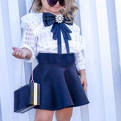 Autumn Toddler Baby Girl Clothes Long Sleeve Lace Tops Plaids Skirt Dress Outfit