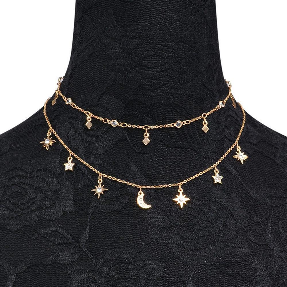 Multilayer Choker Pendant Necklace Star Moon Chain Gold Women Summer JewelrYRDE