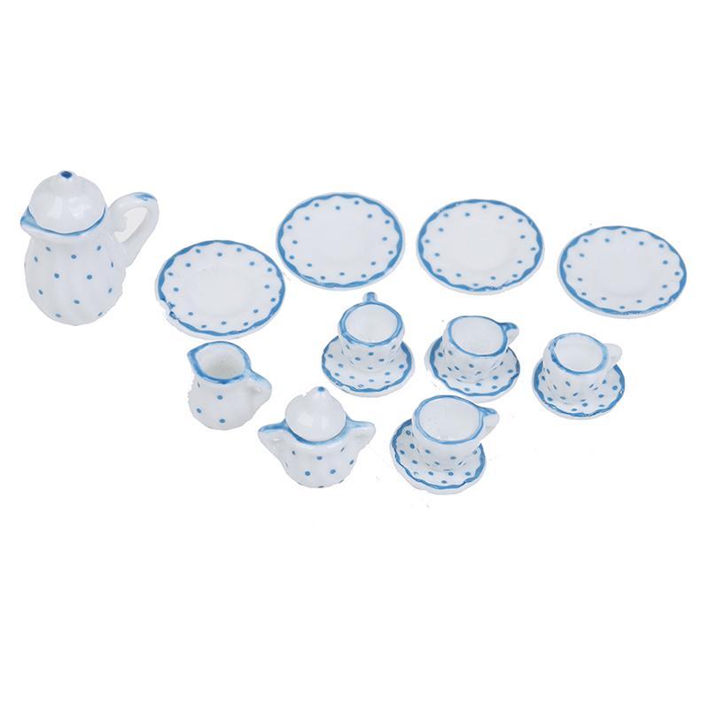 15Pcs 1:12 Dollhouse miniature blue dot tableware porcelain coffee tea cups set