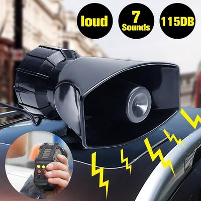 UK 100W 12V Car Loud Horn 7-Sound Siren Microphone For Trucks Boats Motorcycles