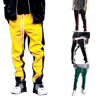 New Men Stripe Pocket Overalls Training Sport Trouser Elastic Waist Long Pants