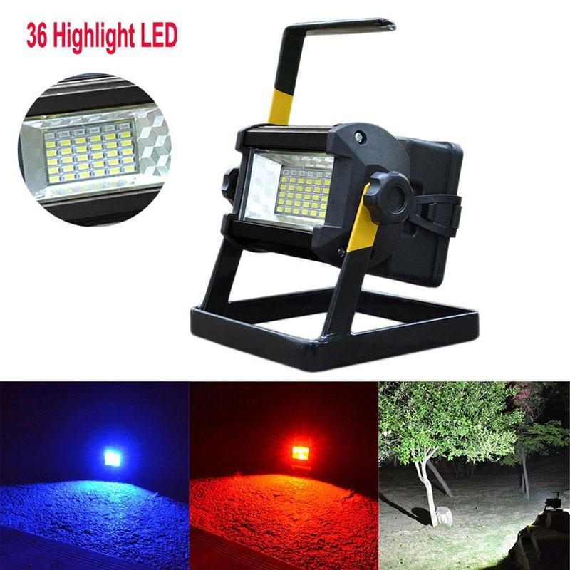 50W Portable Work Light Rechargeable LED Flood Spot Camping Hiking Lamp 3x 18650