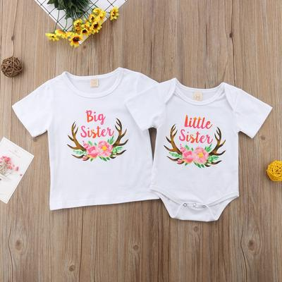 Baby Girl Little Sister Romper Floral Pants Big Sister T-Shirt Letter Bodysuit Sweatshirt 3Pcs Outfit Set