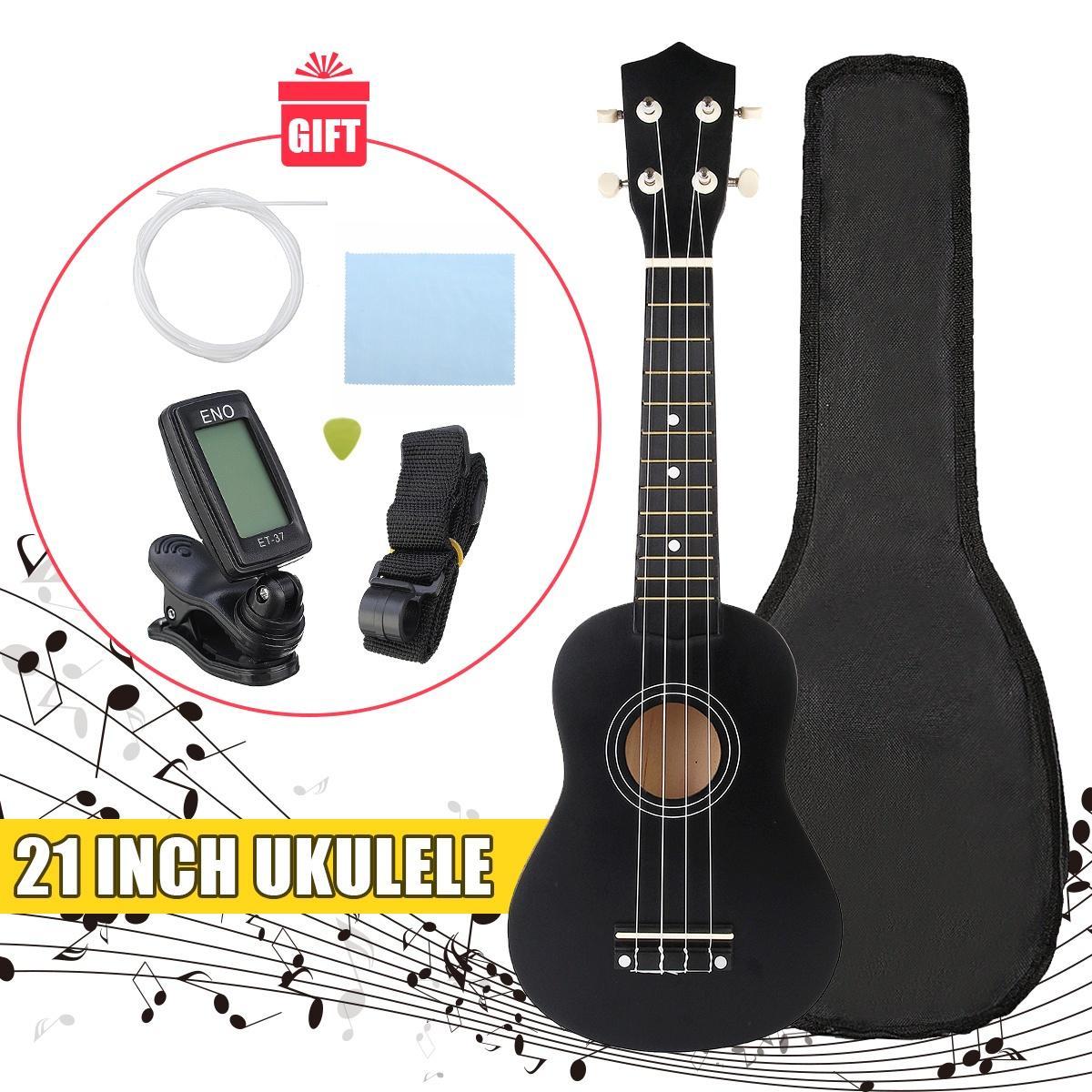 Набор для музыкантов, включающий укулеле, тюнер для настройки, запасные струны, медиатр, ремешок, чехол для хранения и тряпочку для протирки инструмента фото