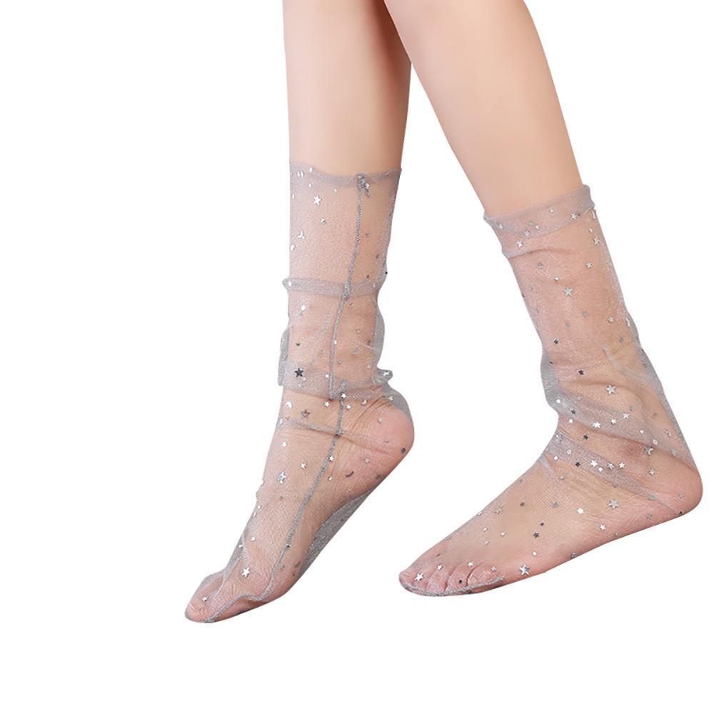 Fashion Glitter Star Soft Mesh Socks Transparent Elastic Sheer Ankle socks LD