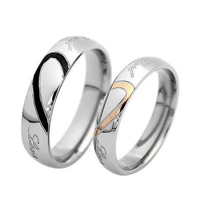 4789c028a778 Moda amor corazón forma promesa banda anillo para pareja amante de la  joyería de la boda