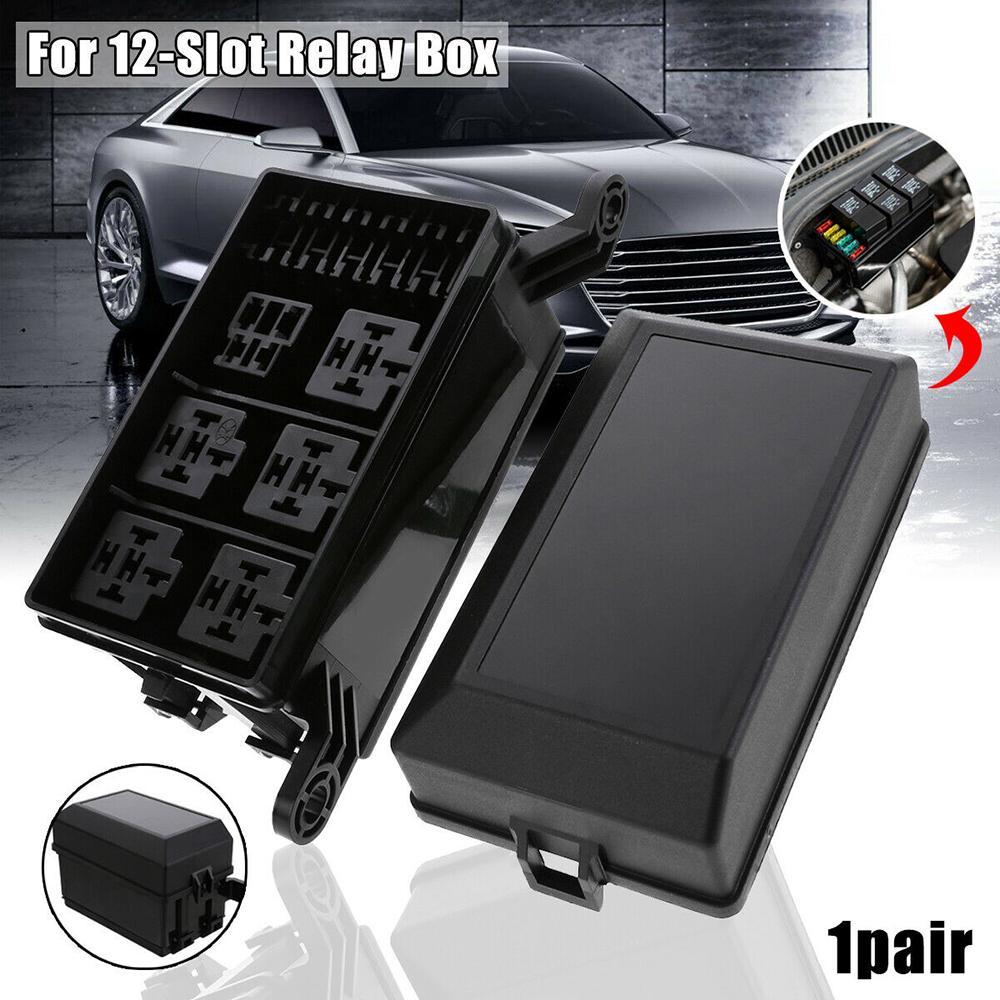 Automotive Car Auto Fuse Relay Holder 12-Slot Relay Box 6 Relays 6 ATC//ATO Fuses