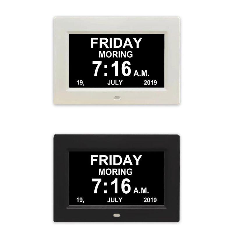 """7 """"Inch Цифровые часы Календарь с негабаритных шрифт Дата День Напоминание для пожилых людей и детей – купить по низким ценам в интернет-магазине Joom"""