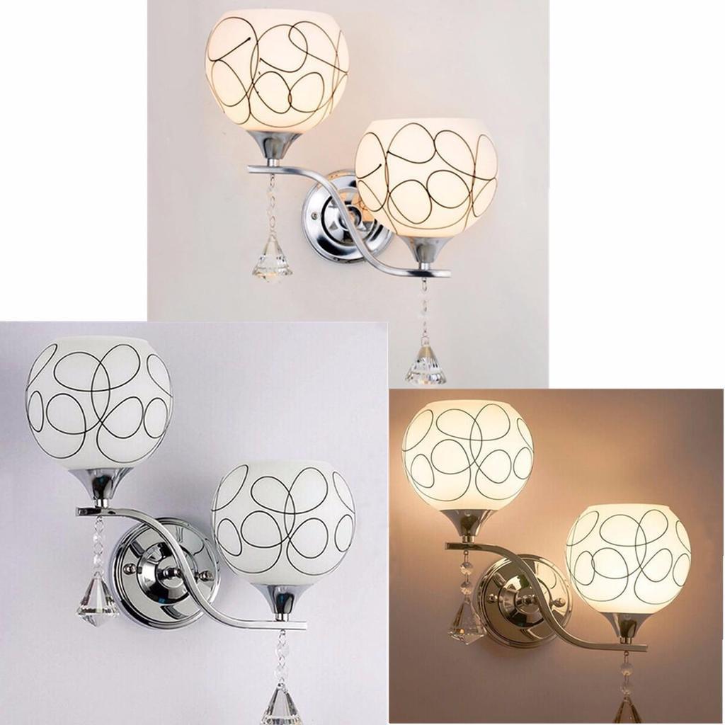 Modern LED Crystal Wall Lamp Sconce Light Bulb Bedroom Bedside Hallway Lightings