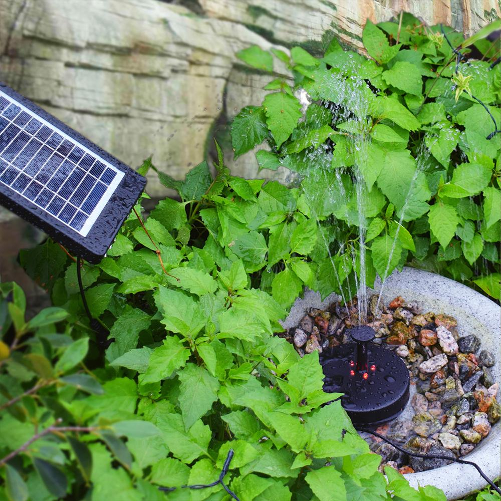 9V 2.5W Solar Power Fountain Solar Water Pump Water Can Store Power Oxygen Pump Built-in Battery with Mode Selection Switch