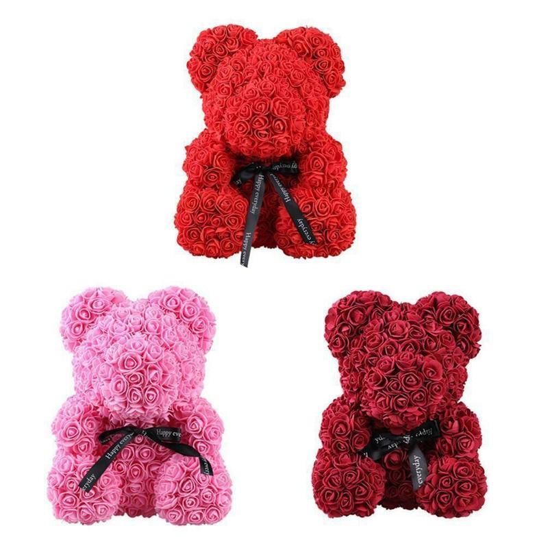 25//40cm Lovely Rose Bear Teddy Doll Foam Flowers Rose Girl Birthday Wedding Gift