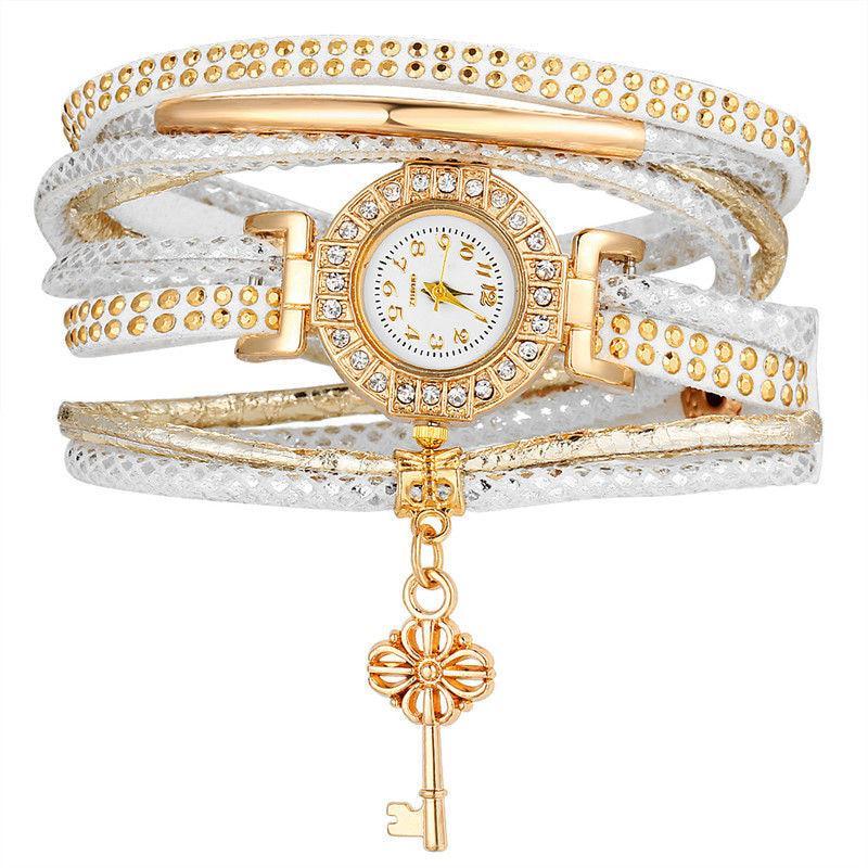 5269eeab09e4 Pulseras de cuero cristal multicapa de buho para las mujeres reloj ...