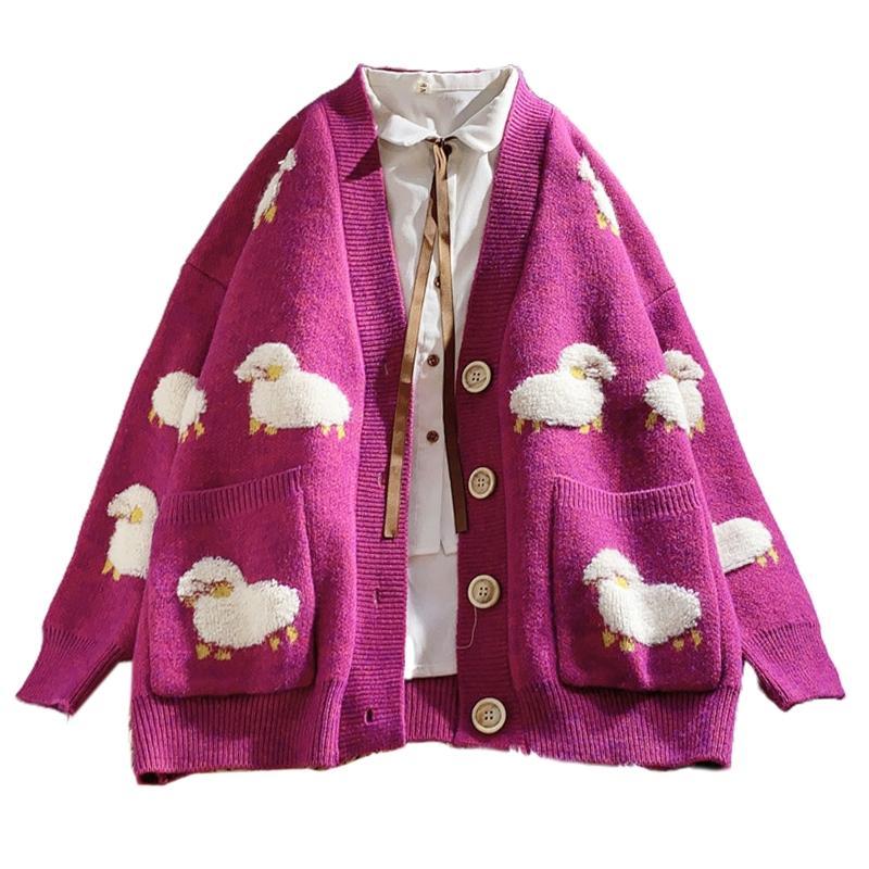 Cartoon Cute V Neck Coat Women Female Sheep Loose Cardigan Sweater Autumn Knit